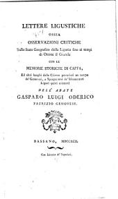 Lettere ligustiche: ossia Osservazioni critiche sullo stato geografico della Liguria fino ai tempi de Ottone el Grande