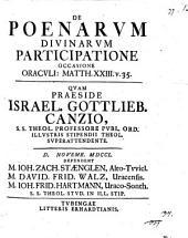 De poenarum divinarum participatione: occasione oraculi Matth. XXIII. Pars 1