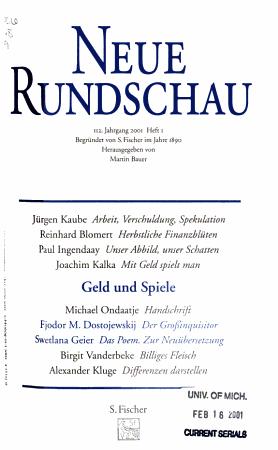 Die Neue Rundschau PDF