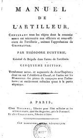 Manuel de l'artilleur ... suivant liapprobation de Gribeauval ... 5. ed. ... revue et augmentee