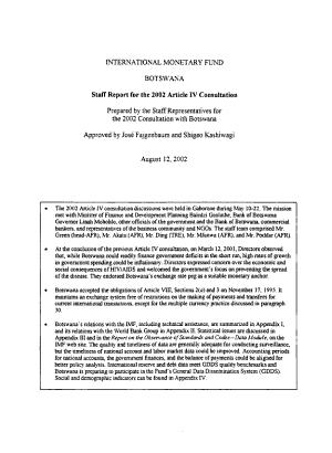 Botswana      Article IV Consultation PDF