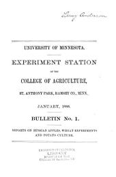 Bulletin - Agricultural Experiment Station, University of Minnesota: Issues 1-30