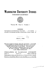 Washington University Studies: Volume 3, Part 1