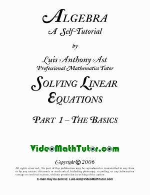 Video Math Tutor  Algebra  Solving Linear Equations   Part 1  The Basics