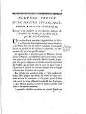 Nouveau projet d'une mesure invariable, propre a devenir universelle. Extrait d'un mémoire lû à l'assemblée publique de l'Académie des Sciences, le 24 avril 1748, par m. de la Condamine