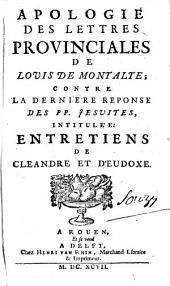 Apologie des Lettres Provinciales de Louis de Montalte
