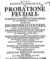 Dissertatio Inauguralis, De Probatione Feudali