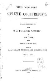 The New York Supreme Court Reports: Cases Determined in the Supreme Court from June ... 1873 [to June 1875], Volume 3