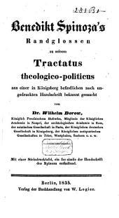 Spinoza's Randglossen zu seinem Tractatus theologico-politicus aus einer in Königsberg befindlichen noch ungedruckten Handschrift