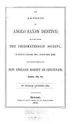 An Address on Anglo-Saxon Destiny