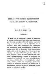 Verslag over eenige handschriften nagelaten door mr. W. Bilderdijk