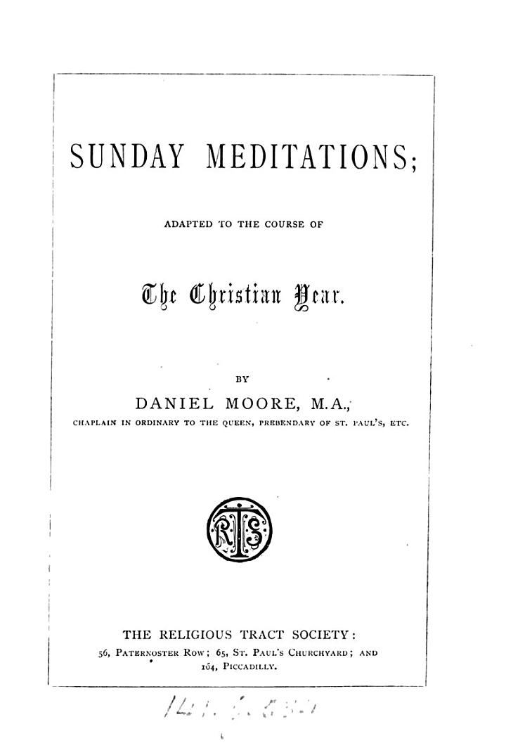 Sunday Meditations; Adapted to the Course of the Christian Year