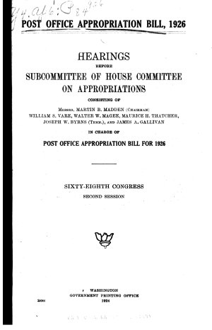 Post Office Appropriation Bill  1926