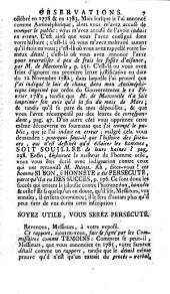 Observations faites à la Societè Royale de Médecine de Paris