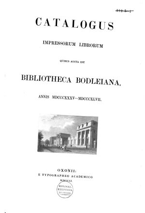 Catalogus Librorum Impressorum Bibliothecae Bodleianae in Academia Oxoniensi PDF