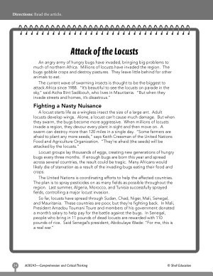 Test Prep Level 5  Attack of the Locusts Comprehension and Critical Thinking PDF
