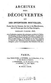 Archives des Decouvertes Et Des Inventions Nouvelles, Faites dans les Sciences, les Arts et les Manufactures, tant en France que dans les Pays etrangers: Volume21