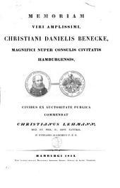 Memoria viri amplissimi Christiani Danielis Benecke