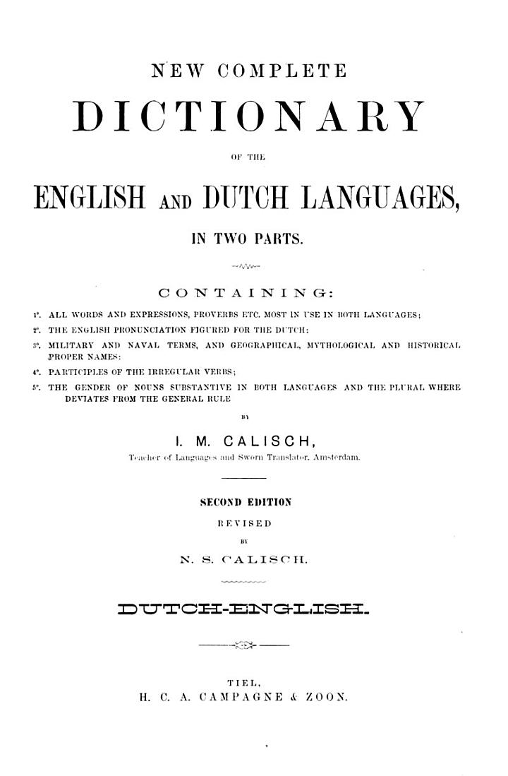 New complete dictionary of the English and Dutch languages