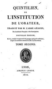 Quintilien, De institution de l'orateur: Volume 2