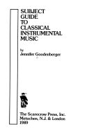 Subject Guide to Classical Instrumental Music PDF