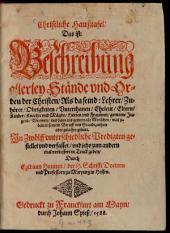 Christliche Hausstafel: Das ist: Beschreibung allerley Stände und Orden der Christen ...