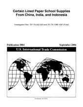 Certain Lined Paper School Supplies from China  India  and Indonesia  Invs  701 TA 442 443 and 731 TA 1095 1097  Final  PDF