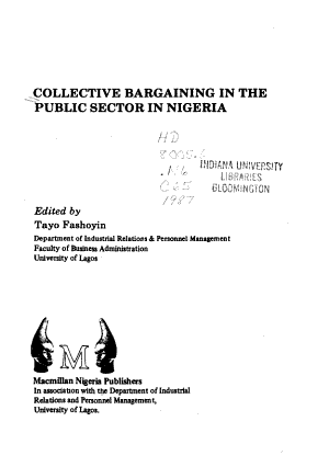 Collective Bargaining in the Public Sector in Nigeria PDF