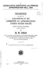 Legislative, Executive, and Judicial Appropriation Bill, 1922