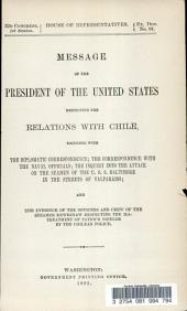 ...Message of the President of the United States Respecting the Relations with Chile ...