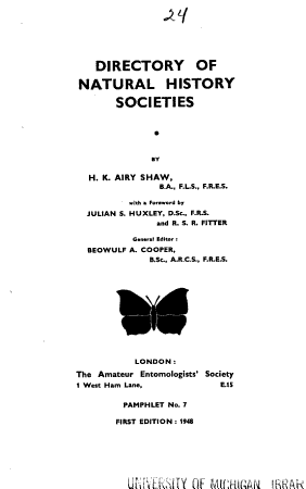 Directory of Natural History Societies PDF