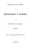 Annual Report of the Superintendent of Insurance  State of Ohio PDF