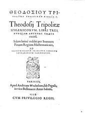 """Theodosiu Tripolitu"" Sphairikōn Biblia Tria. Theodosij Tripolitæ Sphæricorvm, Libri Tres, Nvnquam Antehac Græce excusi. Iidem latinè redditi per Ioannem Penam"
