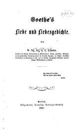 Goethes Liebe und Liebesgedichte