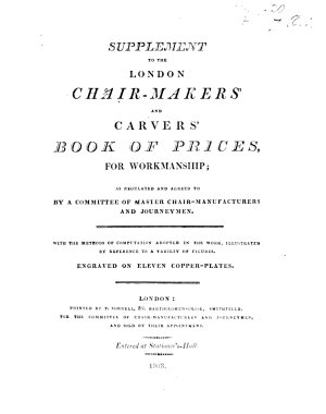 Supplement to the London Chair Makers & Carvers' Book of Prices ... With ... eleven copper-plates