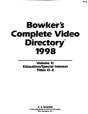 Bowker s Complete Video Directory  1998