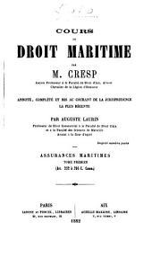 Cours de droit maritime: Volume3