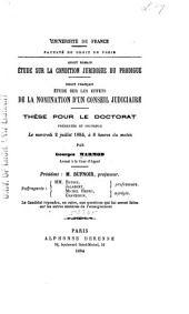 Étude sur la condition juridique du prodigue ...: Étude sur les effets de la nomination d'un conseil judiciaire...