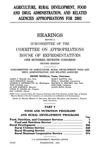 Agriculture  Rural Development  Food and Drug Administration  and Related Agencies Appropriations for 2003 PDF