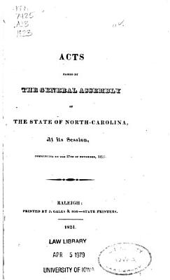 Acts Passed by the General Assembly of the State of North Carolina PDF