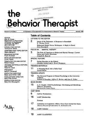 The Behavior Therapist PDF