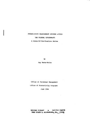 Productivity Measurement Systems Within the Federal Government PDF