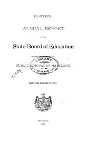 Annual Report of the State Board of Education Showing Condition of the Public Schools of Maryland