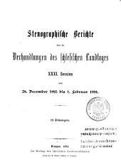Verhandlungen. Stenographische Berichte: Band 31