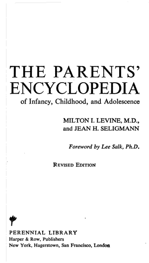 The Parents  Encyclopedia of Infancy  Childhood  and Adolescence PDF
