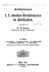 Entscheidungen des K.K. Obersten gerichtshofes in civilsachen, veröffentlicht auf dessen veranlassung von der redaction der Allgemeinen österreichischen gerichtszeitung: Band 6