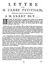 Lettre de M. l'abbe Petitpied, docteur de la maison & societe de Sorbonne, a m. l'abbe d'Et...