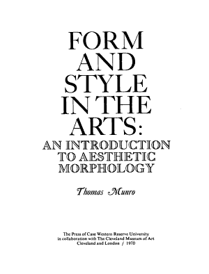 Form and Style in the Arts