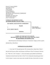 Ryan Ashley Brant: Securities and Exchange Commission Litigation Complaint