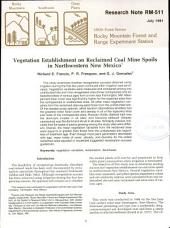 Vegetation Establishment on Reclaimed Coal Mine Spoils in Northwestern New Mexico